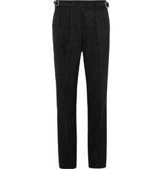 Rubinacci - Manny Tapered Pleated Brushed Cotton-Twill Trousers