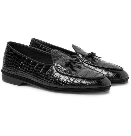 15eb979bcdf Rubinacci Marphy Croc-Effect Leather Loafers In Black