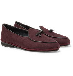 Rubinacci - Marphy Leather-Trimmed Mélange Flannel Loafers