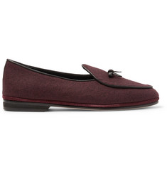 Rubinacci Marphy Leather-Trimmed Mélange Flannel Loafers