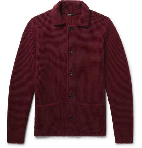 Slim-fit Waffle-knit Cashmere Cardigan - Claret