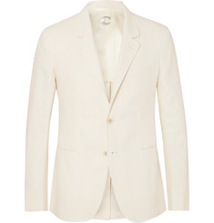 Caruso - Cream Butterfly Slim-Fit Unstructured Chevron Linen-Blend Blazer