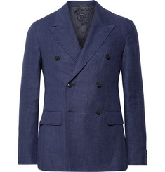 Caruso - Navy Slim-Fit Double-Breasted Wool and Linen-Blend Hopsack Blazer