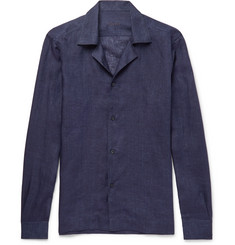 Caruso - Camp-Collar Linen Shirt