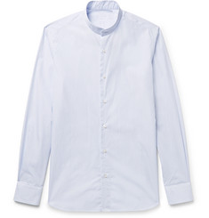 Caruso - Grandad-Collar Striped Cotton-Poplin Shirt