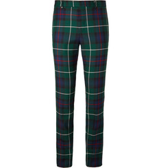 Burberry Runway Slim-Fit Checked Wool-Twill Trousers