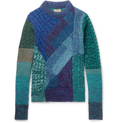 Burberry Runway Patchwork Ribbed and Cable-Knit Cashmere and Wool-Blend Sweater