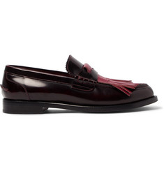 Burberry Runway Polished-Leather Kiltie Loafers