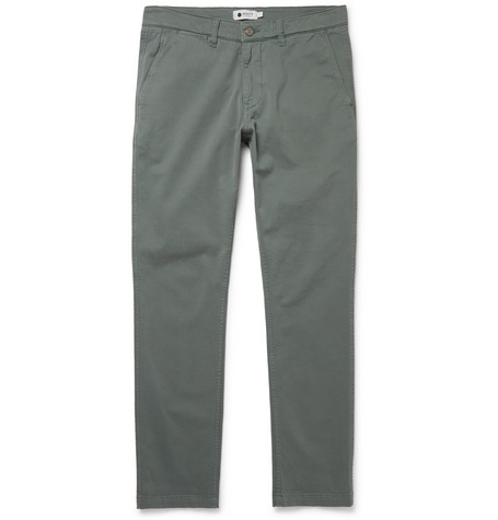 Marco Slim-fit Stretch-cotton Twill Chinos - Gray green