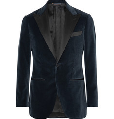 Thom Sweeney Grey Satin-Trimmed Velvet Tuxedo Jacket