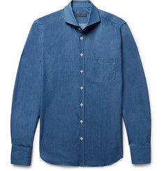 Thom Sweeney - Slim-Fit Cutaway-Collar Cotton-Chambray Shirt