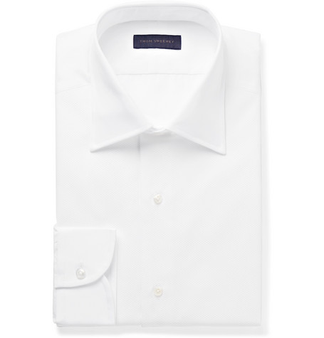White Slim-fit Bib-front Cotton Tuxedo Shirt - White