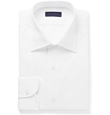White Slim-fit Bib-front Cotton Tuxedo Shirt - White