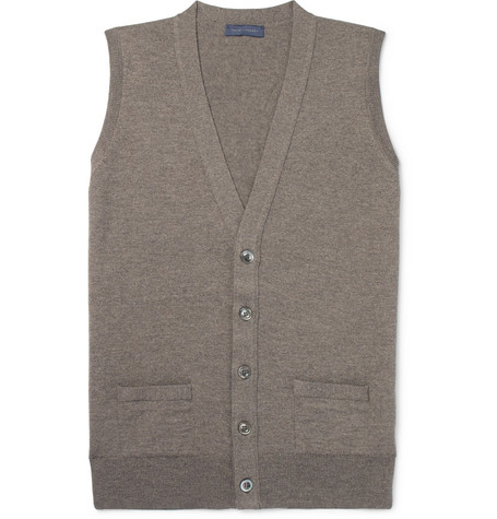 Thom Sweeney Slim-fit Mélange Merino Wool Sweater Vest - Brown Expédition Bonne Vente Libre R3trWk