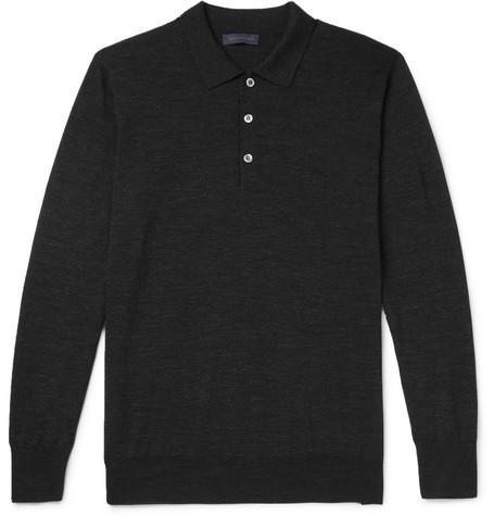Slim-fit Merino Wool Polo Shirt - Charcoal