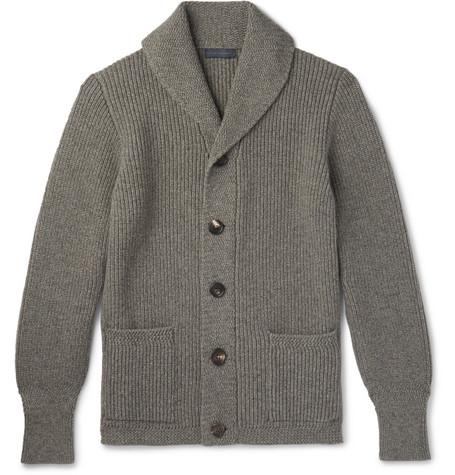Thom Sweeney Shawl Collar Melange Cashmere Cardigan In Gray Modesens