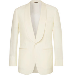 Thom Sweeney Ivory Slim-Fit Satin-Trimmed Wool Tuxedo Jacket
