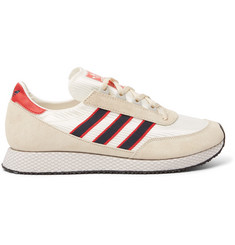 adidas Originals Glenbuck SPZL Leather-Trimmed Suede and Satin Sneakers
