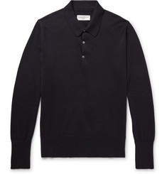 Officine Generale Slim-Fit Knitted Cotton Polo Shirt