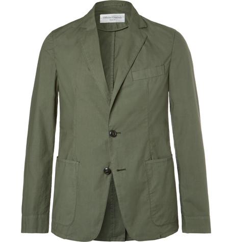 Officine Generale Olive Garment-dyed Cotton Unstructured Blazer - Green