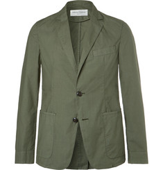 Officine Generale Olive Garment-Dyed Cotton Unstructured Blazer