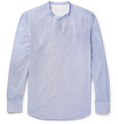 Officine Generale Auguste Grandad-Collar Striped Cotton Shirt