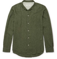 Officine Generale Piped Washed-Linen Shirt
