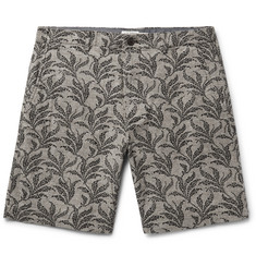 Club Monaco Maddox Geo Leaf Embroidered Stretch Linen and Cotton-Blend Shorts