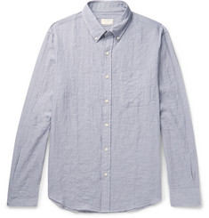 Club Monaco Slim-Fit Button-Down Collar Herringbone Stretch-Cotton Shirt