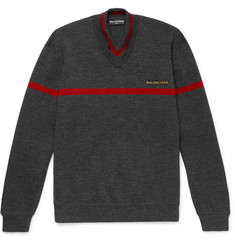 Balenciaga Embroidered Stretch Wool-Blend Sweater