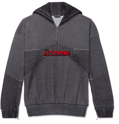 Balenciaga Intarsia-Knit Virgin Wool-Blend Half-Zip Sweater