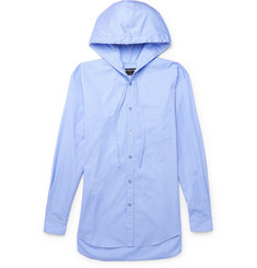 Balenciaga Striped Cotton-Poplin Hooded Shirt