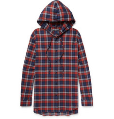Balenciaga Oversized Checked Cotton-Flannel Hooded Shirt
