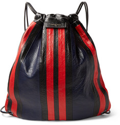 Balenciaga Arena Lock Striped Creased-Leather Backpack