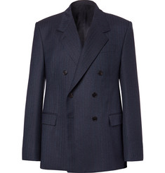 Balenciaga Navy Double-Breasted Herringbone Virgin Wool Suit Jacket