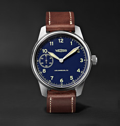 Weiss Limited Edition American Issue 42mm Stainless Steel and Leather Field Watch