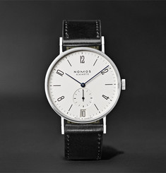NOMOS Glashütte Tangente 38mm Datum Stainless Steel and Leather Watch