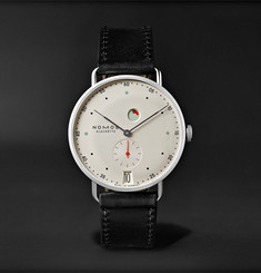 NOMOS Glashütte Metro Datum Gangreserve 37mm Stainless Steel and Leather Watch