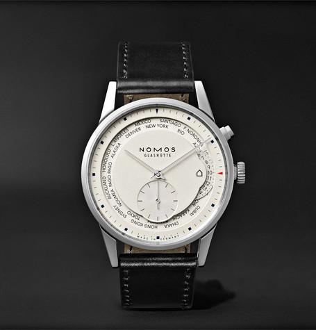 Zurich Weltzeit Automatic 40mm Stainless Steel And Cordovan Leather Watch - Black
