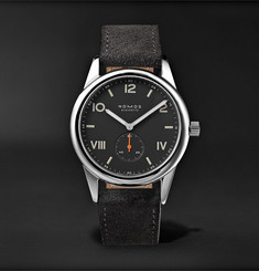 NOMOS Glashütte Club 38 Campus Nacht 38mm Stainless Steel and Leather Watch