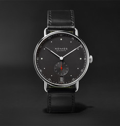 NOMOS Glashütte Metro Datum Stadtschwarz 38mm Stainless Steel and Leather Watch