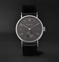 NOMOS Glashütte Tangomat Automatic 38mm Ruthenium, Stainless Steel and Cordovan Leather Watch