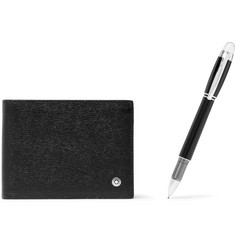Montblanc Leather Billfold Wallet and Starwalker Resin and Platinum-Plated Pen Set