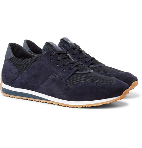 Leather-trimmed Nubuck And Neoprene Sneakers - NavyTod's