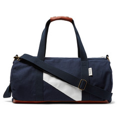 Tracksmith Club Leather-Trimmed Canvas Duffle Bag