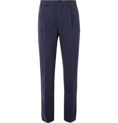 Altea Soho Tapered Pleated Slub Cotton Trousers