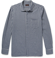 Altea Slim-Fit Gingham Stretch Cotton-Blend Seersucker Shirt