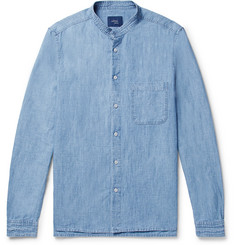Altea - Grandad-Collar Slub Cotton and Linen-Blend Chambray Shirt