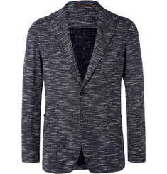Altea Navy Slim-Fit Unstructured Slub Cotton-Blend Blazer