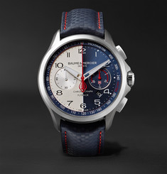 Baume & Mercier - Clifton Club Shelby Cobra Automatic 44mm Stainless Steel and Leather Watch